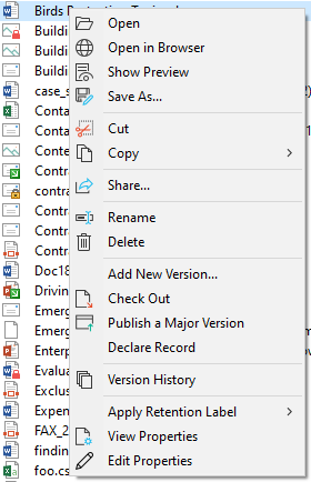 The document context menu gives you quick access to common SharePoint operations.