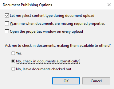 In Document Options you can set the preferred behavior for check in prompts.