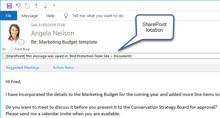 Saving email messages to SharePoint