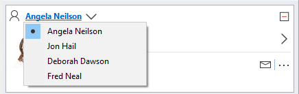The arrow next to the person name allows you to select and view the user information of another person.