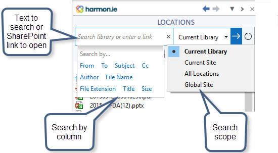 From the search bar you can search the current SharePoint site or library for documents.