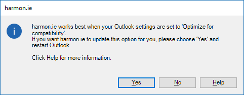 harmon.ie works best when your Outlook settings are set to Optimize for compatibility.