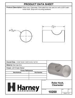 Product Data Specification Sheet Of A Robe Hook / Towel Hook, Clearwater Bathroom Hardware Set - Satin Nickel Finish - Product Number 10200
