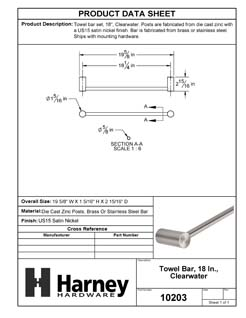 Product Data Specification Sheet Of A Towel Bar, 18 In., Clearwater Bathroom Hardware Set  - Satin Nickel Finish - Product Number 10203