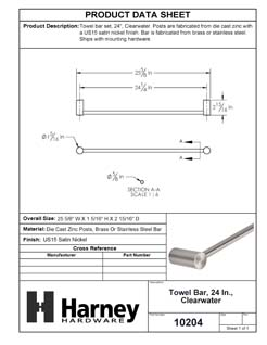 Product Data Specification Sheet Of A Towel Bar, 24 In., Clearwater Bathroom Hardware Set - Satin Nickel Finish - Product Number 10204