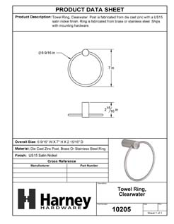 Product Data Specification Sheet Of A Towel Ring, Clearwater Bathroom Hardware Set  - Satin Nickel Finish - Product Number 10205
