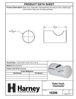 Product Data Specification Sheet Of A Robe Hook / Towel Hook, Clearwater Bathroom Hardware Set  - Chrome Finish - Product Number 10206