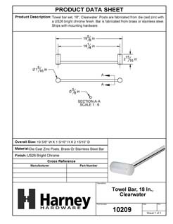Product Data Specification Sheet Of A Towel Bar, 18 In., Clearwater Bathroom Hardware Set - Chrome Finish - Product Number 10209