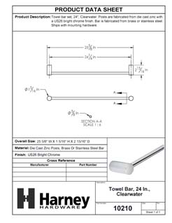 Product Data Specification Sheet Of A Towel Bar, 24 In., Clearwater Bathroom Hardware Set  - Chrome Finish - Product Number 10210