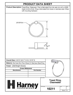 Product Data Specification Sheet Of A Towel Ring, Clearwater Bathroom Hardware Set - Chrome Finish - Product Number 10211
