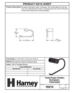 Product Data Specification Sheet Of A Toilet Paper Holder, European, Clearwater Bathroom Hardware Set  - Venetian Bronze Finish - Product Number 10213