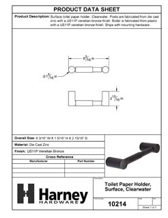 Product Data Specification Sheet Of A Toilet Paper Holder, Clearwater Bathroom Hardware Set  - Venetian Bronze Finish - Product Number 10214