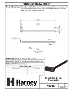 Product Data Specification Sheet Of A Towel Bar, 24 In., Clearwater Bathroom Hardware Set  - Venetian Bronze Finish - Product Number 10216