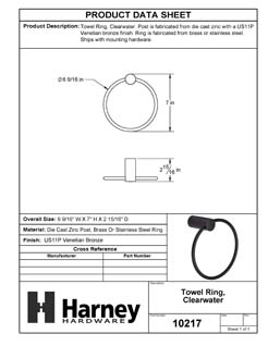 Product Data Specification Sheet Of A Towel Ring, Clearwater Bathroom Hardware Set  - Venetian Bronze Finish - Product Number 10217