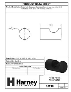 Product Data Specification Sheet Of A Robe Hook / Towel Hook, Clearwater Bathroom Hardware Set - Matte Black Finish - Product Number 10218