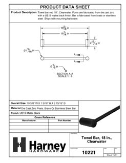 Product Data Specification Sheet Of A Towel Bar, 18 In., Clearwater Bathroom Hardware Set - Matte Black Finish - Product Number 10221