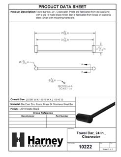 Product Data Specification Sheet Of A Towel Bar, 24 In., Clearwater Bathroom Hardware Set - Matte Black Finish - Product Number 10222