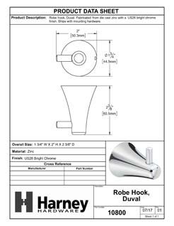 Product Data Specification Sheet Of A Robe Hook / Towel Hook, Duval Bathroom Hardware Set  - Chrome Finish - Product Number 10800