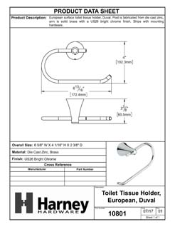 Product Data Specification Sheet Of A Toilet Paper Holder, European, Duval Bathroom Hardware Set  - Chrome Finish - Product Number 10801