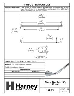 Product Data Specification Sheet Of A Towel Bar, 18 In., Duval Bathroom Hardware Set - Chrome Finish - Product Number 10802