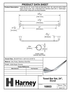 Product Data Specification Sheet Of A Towel Bar, 24 In., Duval Bathroom Hardware Set - Chrome Finish - Product Number 10803