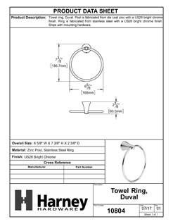 Product Data Specification Sheet Of A Towel Ring, Duval Bathroom Hardware Set  - Chrome Finish - Product Number 10804