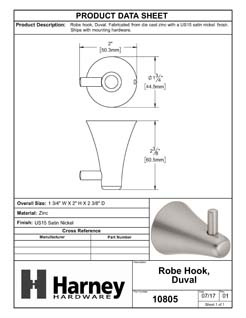 Product Data Specification Sheet Of A Robe Hook / Towel Hook, Duval Bathroom Hardware Set - Satin Nickel Finish - Product Number 10805