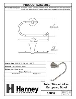 Product Data Specification Sheet Of A Toilet Paper Holder, European, Duval Bathroom Hardware Set - Satin Nickel Finish - Product Number 10806