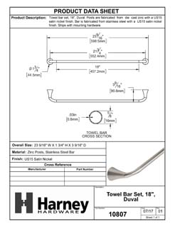 Product Data Specification Sheet Of A Towel Bar, 18 In., Duval Bathroom Hardware Set - Satin Nickel Finish - Product Number 10807