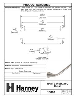 Product Data Specification Sheet Of A Towel Bar, 24 In., Duval Bathroom Hardware Set - Satin Nickel Finish - Product Number 10808