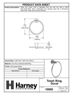 Product Data Specification Sheet Of A Towel Ring, Duval Bathroom Hardware Set - Satin Nickel Finish - Product Number 10809