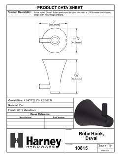 Product Data Specification Sheet Of A Robe Hook / Towel Hook, Duval Bathroom Hardware Set - Matte Black Finish - Product Number 10815