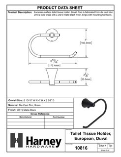 Product Data Specification Sheet Of A Toilet Paper Holder, European, Duval Bathroom Hardware Set - Matte Black Finish - Product Number 10816