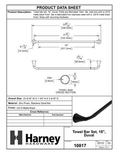 Product Data Specification Sheet Of A Towel Bar, 18 In., Duval Bathroom Hardware Set  - Matte Black Finish - Product Number 10817