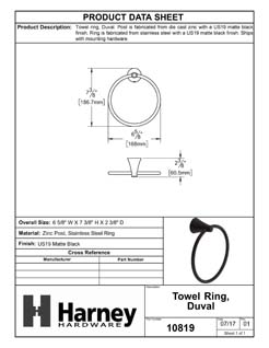 Product Data Specification Sheet Of A Towel Ring, Duval Bathroom Hardware Set - Matte Black Finish - Product Number 10819