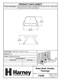Product Data Specification Sheet Of A Robe Hook / Towel Hook, Flamingo Bathroom Hardware Set  - Chrome Finish - Product Number 11030