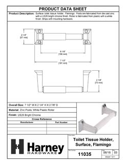 Product Data Specification Sheet Of A Toilet Paper Holder, Flamingo Bathroom Hardware Set  - Chrome Finish - Product Number 11035