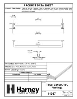 Product Data Specification Sheet Of A Towel Bar, 18 In., Flamingo Bathroom Hardware Set  - Chrome Finish - Product Number 11037