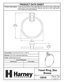 Product Data Specification Sheet Of A Towel Ring, Sea Breeze Bathroom Hardware Set - Chrome Finish - Product Number 12010