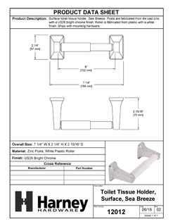 Product Data Specification Sheet Of A Toilet Paper Holder, Sea Breeze Bathroom Hardware Set  - Chrome Finish - Product Number 12012