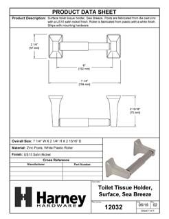 Product Data Specification Sheet Of A Toilet Paper Holder, Sea Breeze Bathroom Hardware Set  - Satin Nickel Finish - Product Number 12032