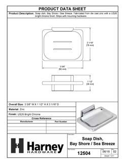Product Data Specification Sheet Of A Wall Mounted Soap Dish, Sea Breeze Bathroom Hardware Set  - Chrome Finish - Product Number 12504