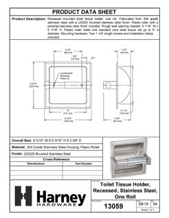 Product Data Specification Sheet Of A Recessed Toilet Paper Dispenser, Single Roll - Satin Stainless Steel Finish - Product Number 13059