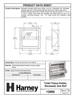 Product Data Specification Sheet Of A Recessed Toilet Paper Dispenser, Single Roll - Polished Stainless Steel Finish - Product Number 13060