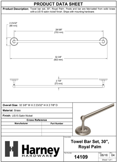 Product Data Specification Sheet Of A Towel Bar, 30 In., Solid Brass, Royal Palm Collection - Satin Nickel Finish - Product Number 14109
