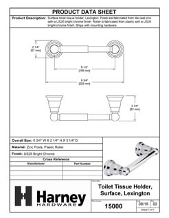 Product Data Specification Sheet Of A Toilet Paper Holder, Lexington Collection - Chrome Finish - Product Number 15000