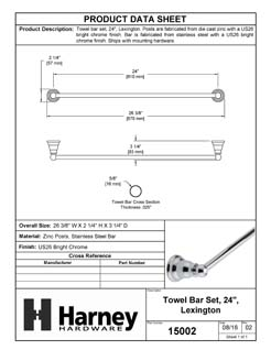Product Data Specification Sheet Of A Towel Bar, 24 In., Lexington Bathroom Hardware Set  - Chrome Finish - Product Number 15002