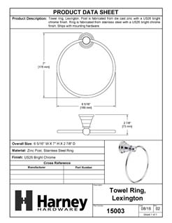 Product Data Specification Sheet Of A Towel Ring, Lexington Bathroom Hardware Set  - Chrome Finish - Product Number 15003
