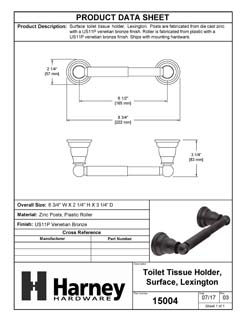Product Data Specification Sheet Of A Toilet Paper Holder, Lexington Bathroom Hardware Set  - Venetian Bronze Finish - Product Number 15004