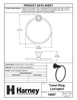 Product Data Specification Sheet Of A Towel Ring, Lexington Bathroom Hardware Set  - Venetian Bronze Finish - Product Number 15007